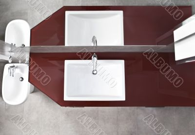 Sink and bidet view from above