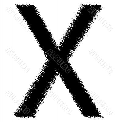 Scribble alphabet letter - X