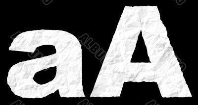 Crumple paper alphabet - A