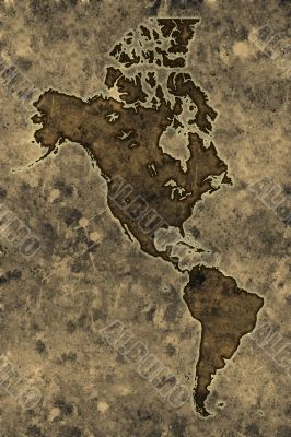 Parchment americas map