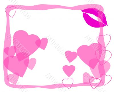 Love and heart frame for saint valentines day