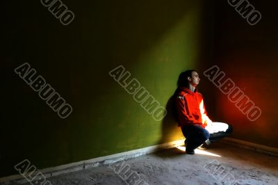 Boy in an empty room