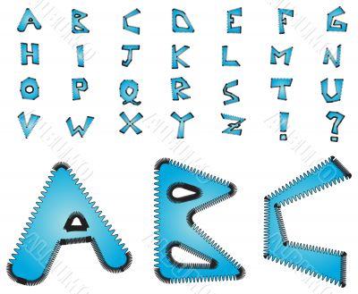 Electric zig zag alphabet - blue
