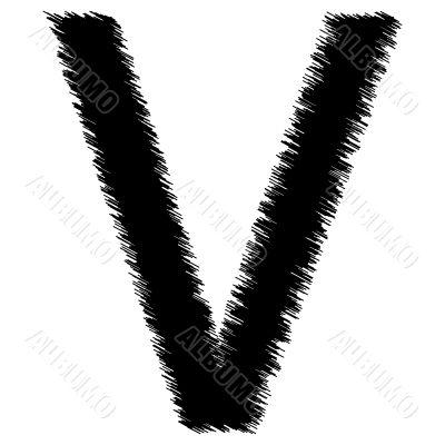 Scribble alphabet letter - V