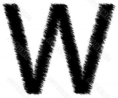 Scribble alphabet letter - W