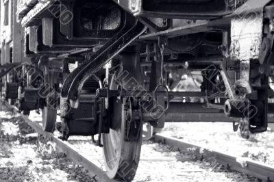 Locomotive wheel closeup