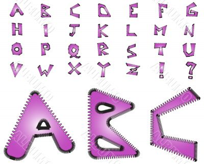 Electric zig zag alphabet - violet