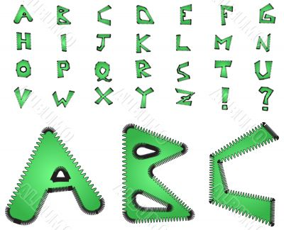 Electric zig zag alphabet - green