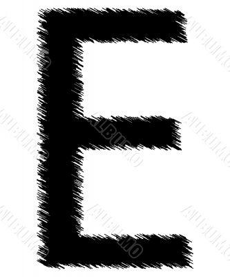 Scribble alphabet letter - E