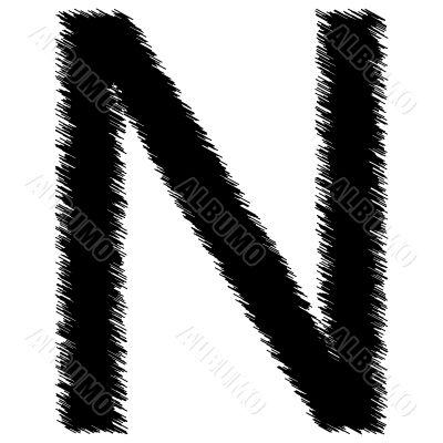 Scribble alphabet letter - N