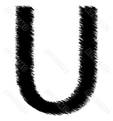 Scribble alphabet letter - U