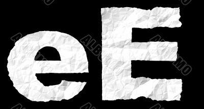 Crumple paper alphabet - E