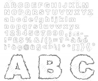 Burnt parchment alphabet