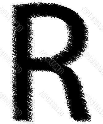 Scribble alphabet letter - R