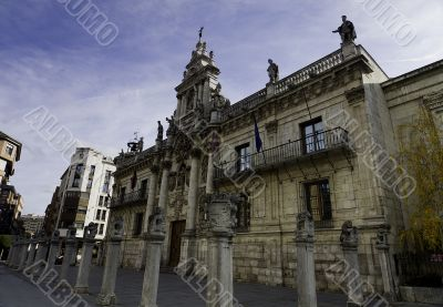 Baroque facade of University of Valladolid