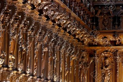 Beautiful choir medieval wood carving of a Spanish cathedral