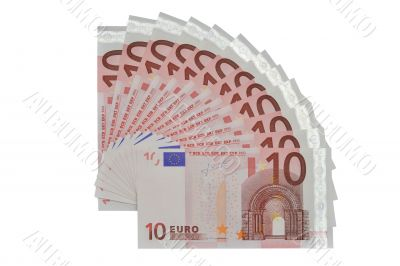 many banknotes of ten Euros form a fan