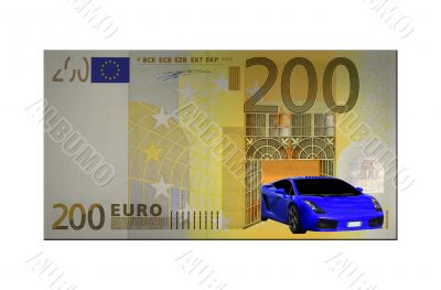 The car comes out of a two hundred euro modified bill