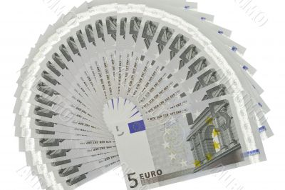Many banknotes of five Euros form a fan