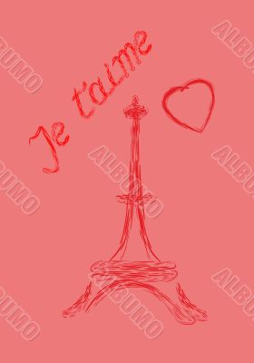 Valentine`s Day greeting card in French