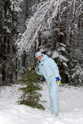 girl snow fir spruce