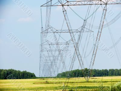 High-voltage line stretches across the steppe of the Altai