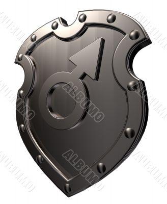 male symbol on shield