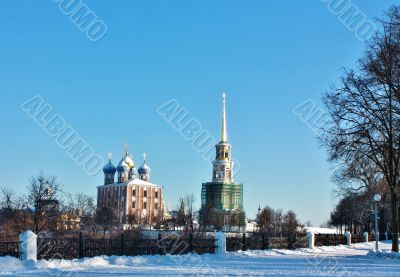 Golden domes of  Ryazan Kremlin