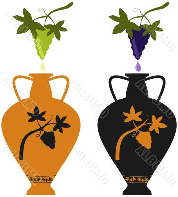 Amphora with image of grape vine and grape cluster