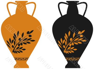 Amphora with image of olive branch