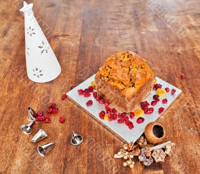 Christmas cake and white candle