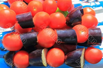 Red and violet raw vegetable