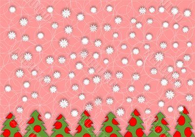 snowflakes and green Christmas tree