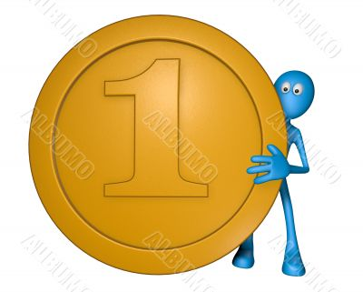 blue guy with coin