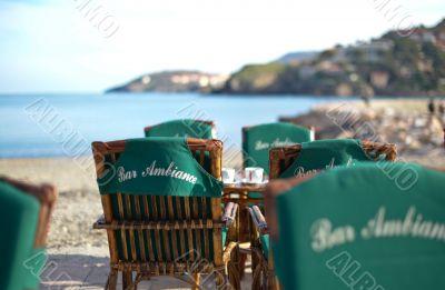 Empty idyllic seaside cafe