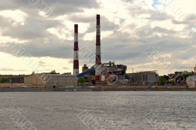 Factory on the bank of the river.