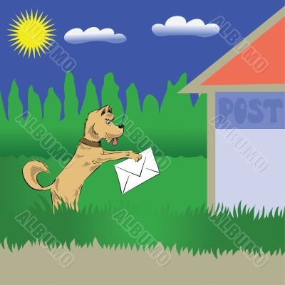 dog and letter