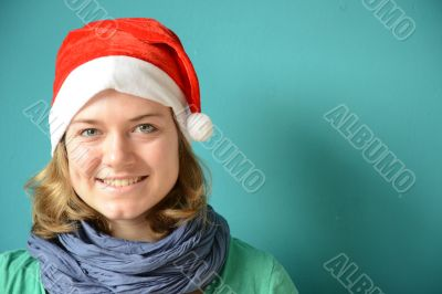 Laughing young Woman with Santa Hat