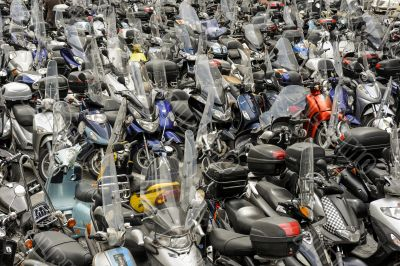 Hundreds of motorbikes parked