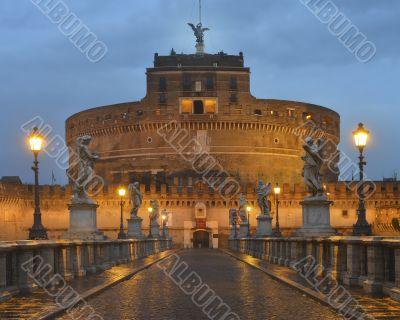 Bridge and castle Sant`Angelo at dawn