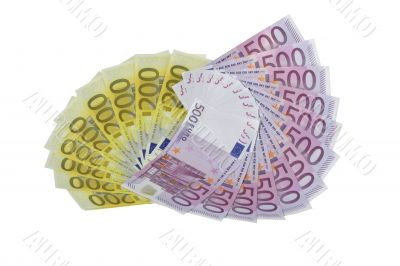 Fans of euro 200 and 500 banknotes