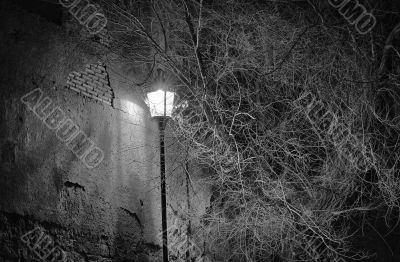 Street lamp near an ancient wall in Rome