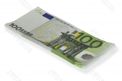 Stack of 100€ bills isolated on white