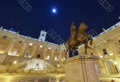 Campidoglio's square and the statue of Marco Aurelio in Rome