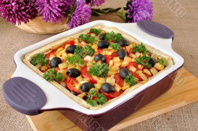 vegetable tart in a cauldron