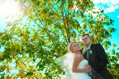 Bride and groom of blue sky