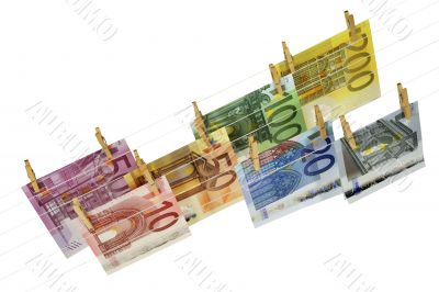all kinds of Euro banknotes hanging on clotheshorse