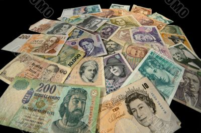 Banknotes of many Countries in the course and off the course