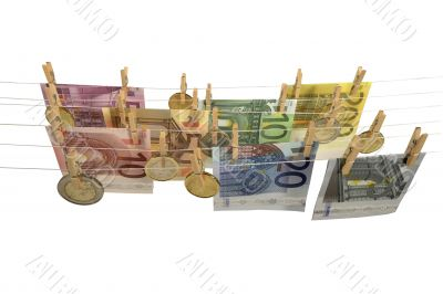 all kinds of Euro banknotes and coins hanging on clotheshorse