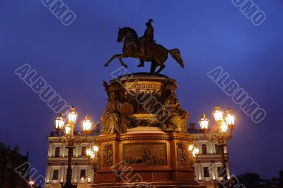 Sculpture Russian emperor on horse in Petersburg